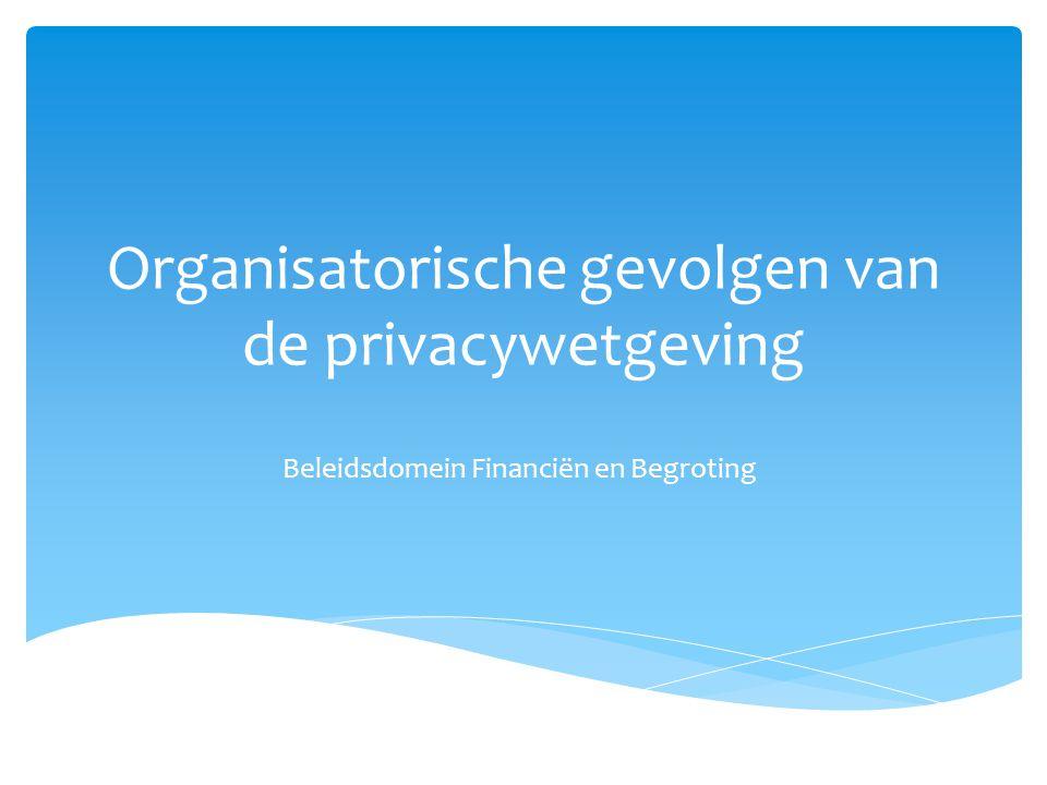 Organisatorische gevolgen van de privacywetgeving Beleidsdomein Financiën en Begroting