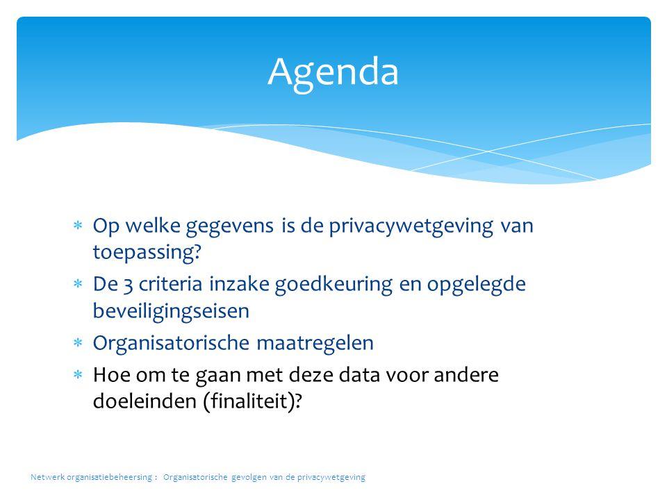  Op welke gegevens is de privacywetgeving van toepassing?  De 3 criteria inzake goedkeuring en opgelegde beveiligingseisen  Organisatorische maatre