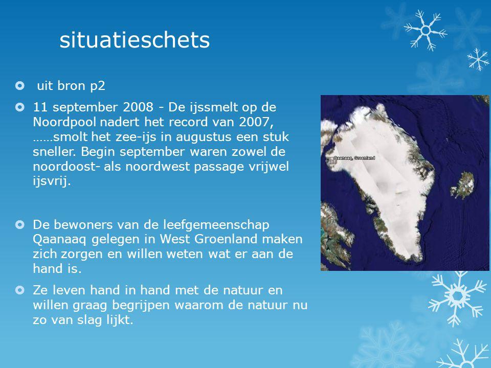 situatieschets  uit bron p2  11 september 2008 - De ijssmelt op de Noordpool nadert het record van 2007, ……smolt het zee-ijs in augustus een stuk sneller.