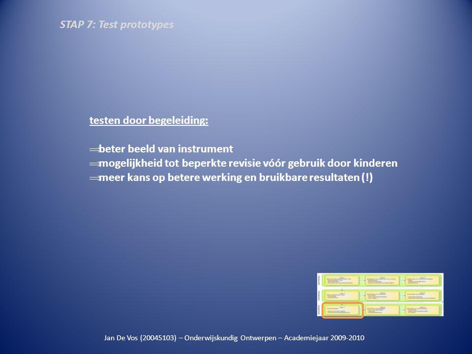 Jan De Vos (20045103) – Onderwijskundig Ontwerpen – Academiejaar 2009-2010 testen door begeleiding:  beter beeld van instrument  mogelijkheid tot be