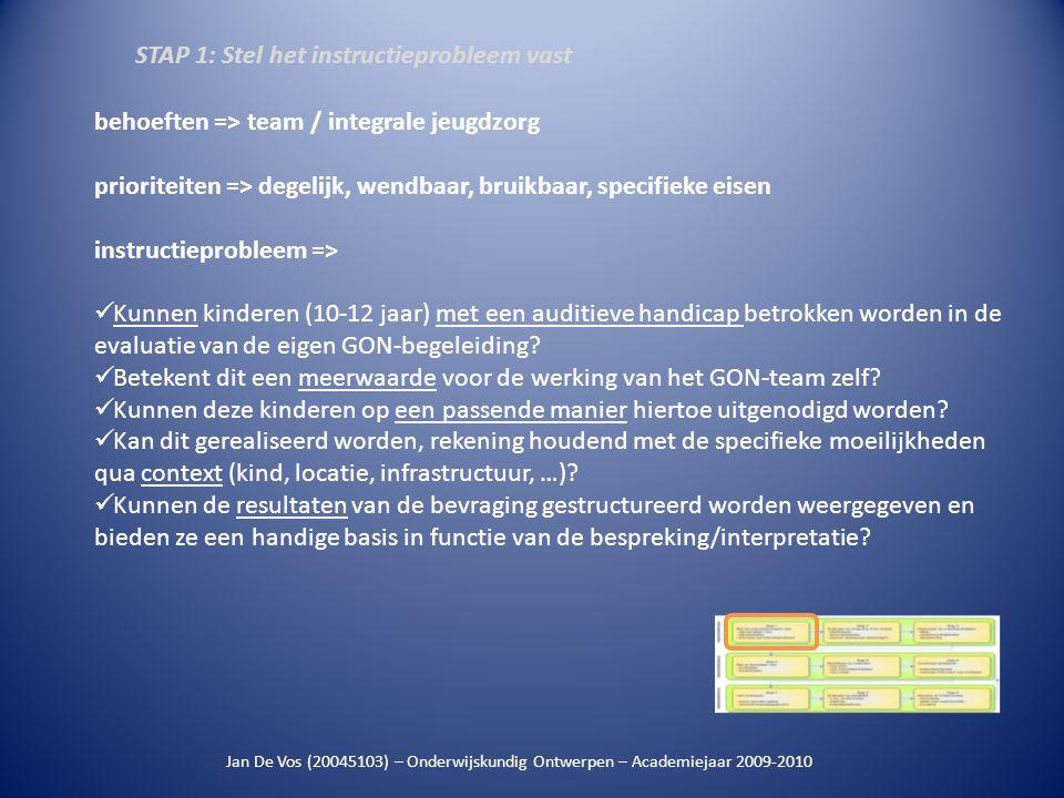 Jan De Vos (20045103) – Onderwijskundig Ontwerpen – Academiejaar 2009-2010 behoeften => team / integrale jeugdzorg prioriteiten => degelijk, wendbaar,