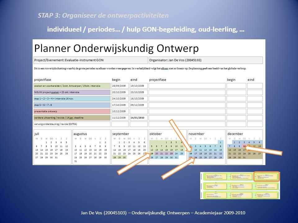 Jan De Vos (20045103) – Onderwijskundig Ontwerpen – Academiejaar 2009-2010 individueel / periodes… / hulp GON-begeleiding, oud-leerling, … STAP 3: Org