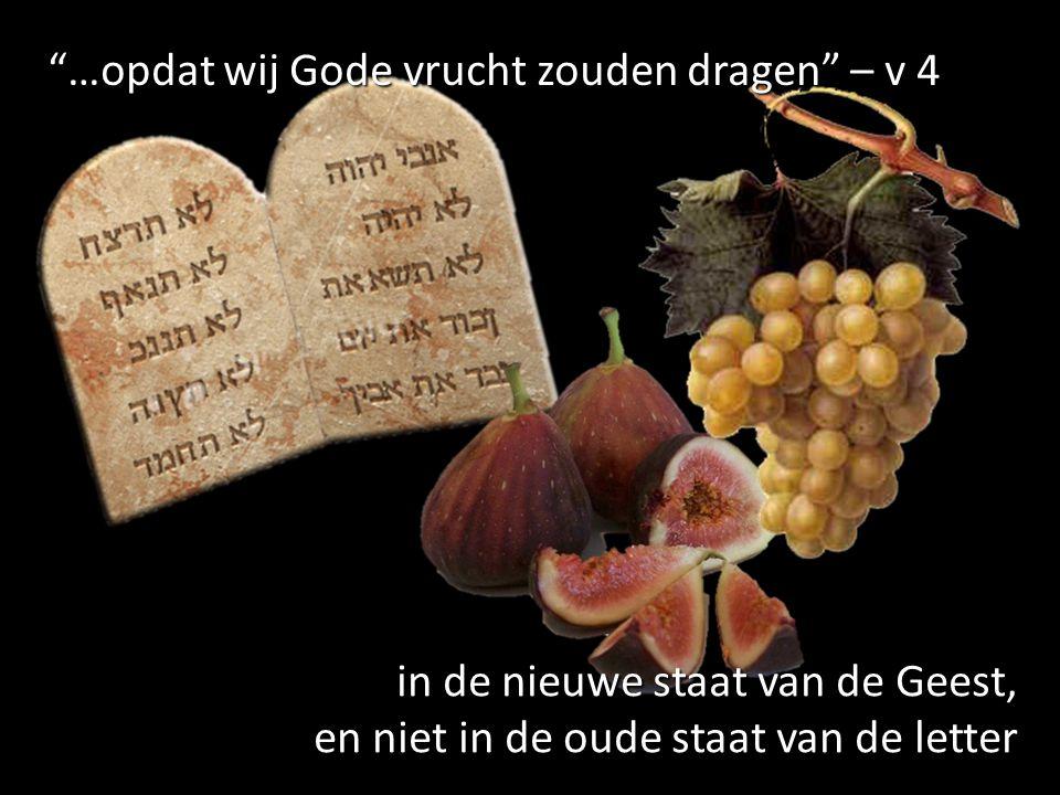 …opdat wij Gode vrucht zouden dragen – v 4 in de nieuwe staat van de Geest, en niet in de oude staat van de letter