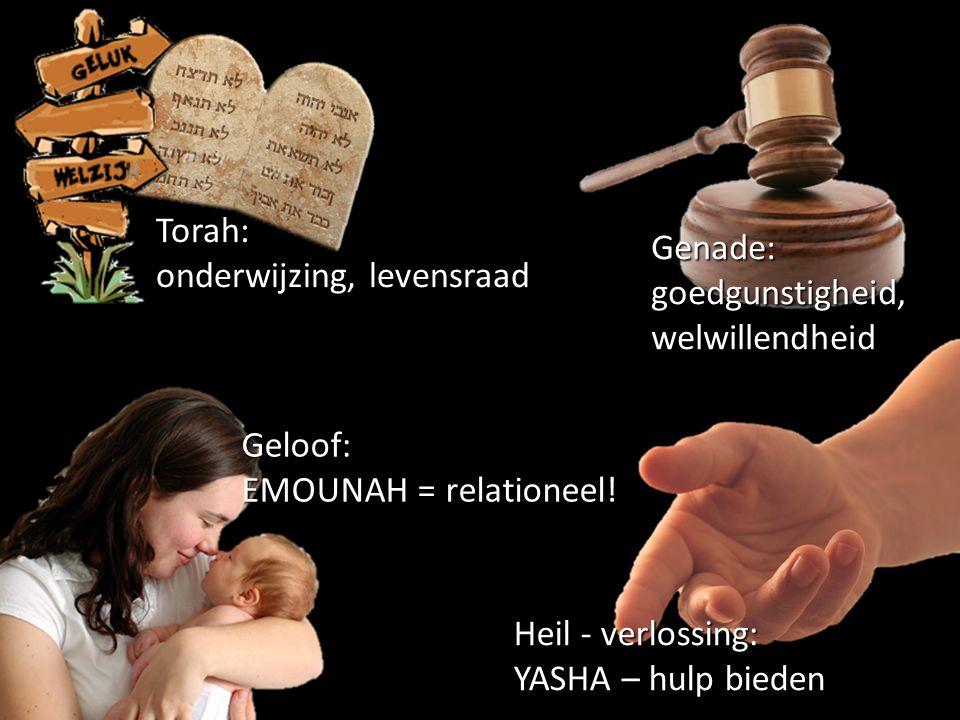 Torah: onderwijzing, levensraad Geloof: EMOUNAH = relationeel! Genade: goedgunstigheid, welwillendheid Heil - verlossing: YASHA – hulp bieden