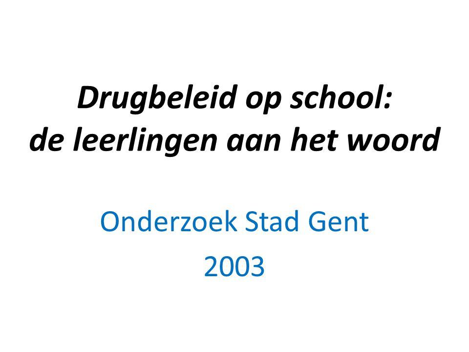 Drugbeleid op school: de leerlingen aan het woord Onderzoek Stad Gent 2003