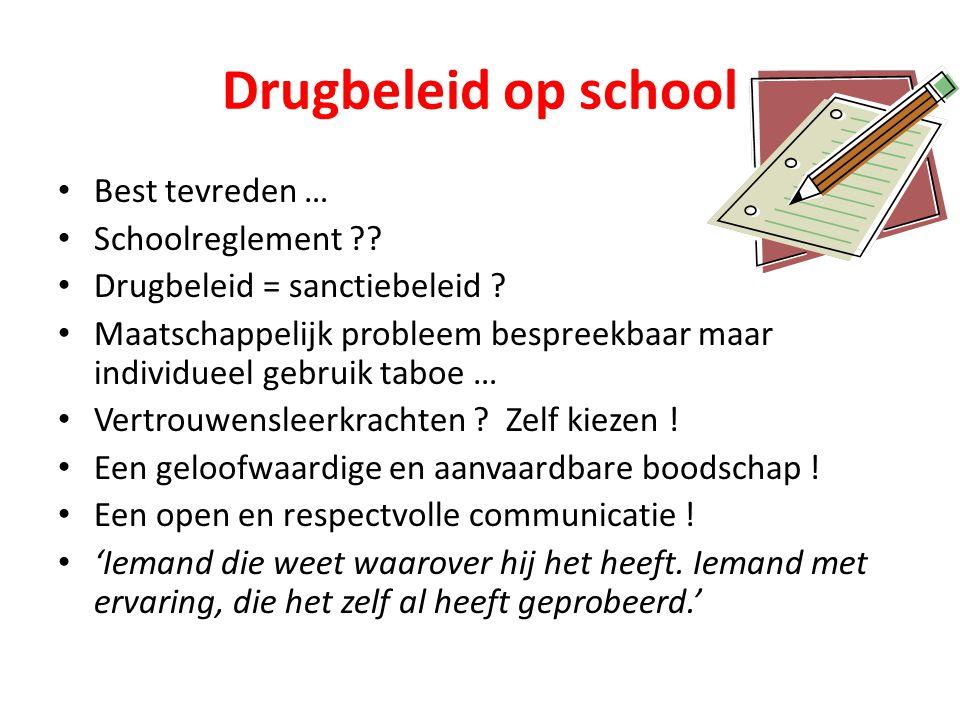 Drugbeleid op school • Best tevreden … • Schoolreglement ?.