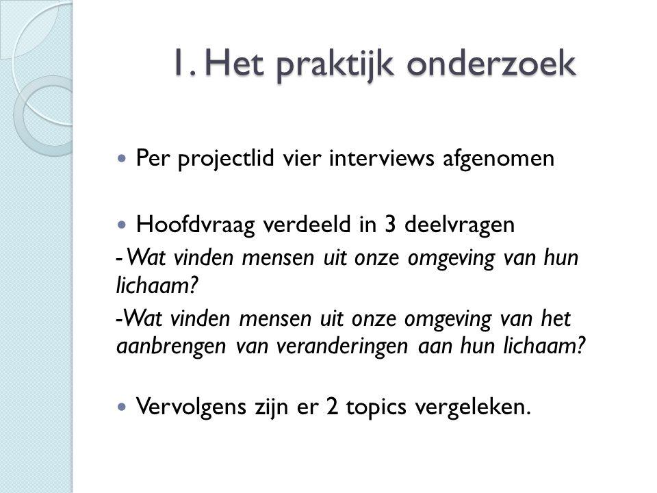 1. Het praktijk onderzoek  Per projectlid vier interviews afgenomen  Hoofdvraag verdeeld in 3 deelvragen - Wat vinden mensen uit onze omgeving van h