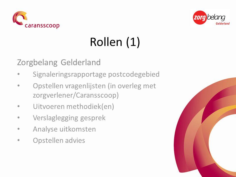Rollen (1) Zorgbelang Gelderland • Signaleringsrapportage postcodegebied • Opstellen vragenlijsten (in overleg met zorgverlener/Caransscoop) • Uitvoer