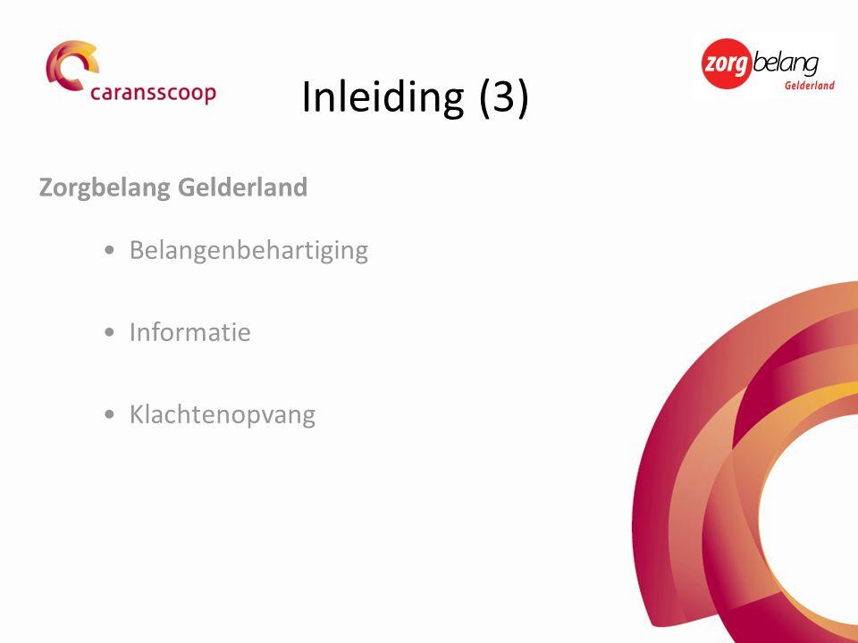 •Belangenbehartiging •Informatie •Klachtenopvang Zorgbelang Gelderland Inleiding (3)