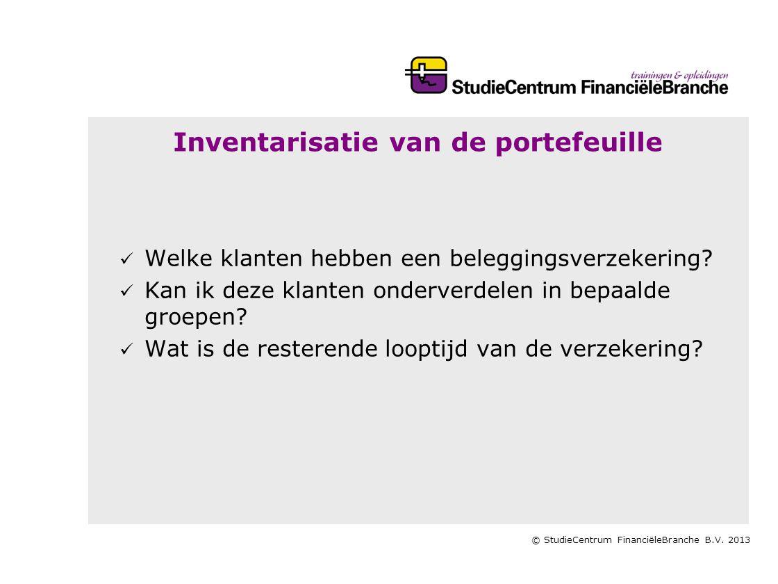 © StudieCentrum FinanciëleBranche B.V. 2013 Inventarisatie van de portefeuille   Welke klanten hebben een beleggingsverzekering?   Kan ik deze kla