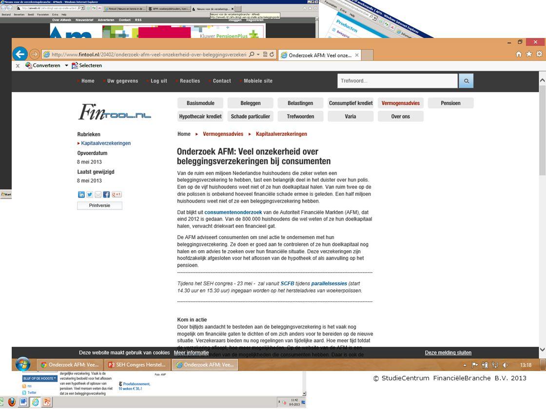 © StudieCentrum FinanciëleBranche B.V. 2013 Je kunt er niet omheen!