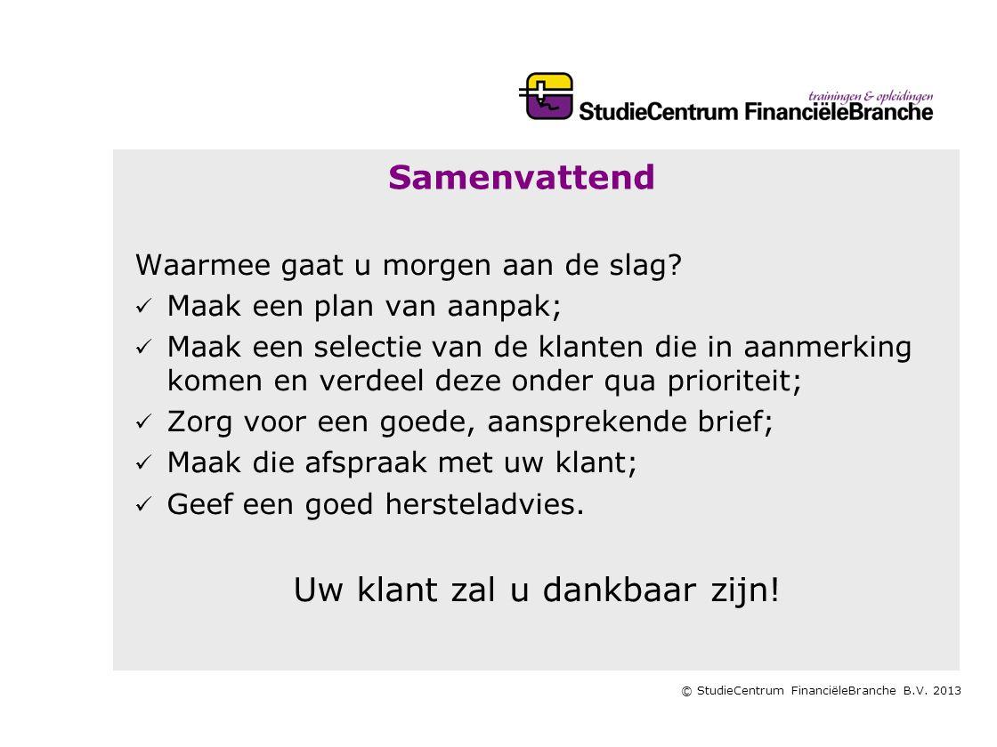 © StudieCentrum FinanciëleBranche B.V.2013 Samenvattend Waarmee gaat u morgen aan de slag.