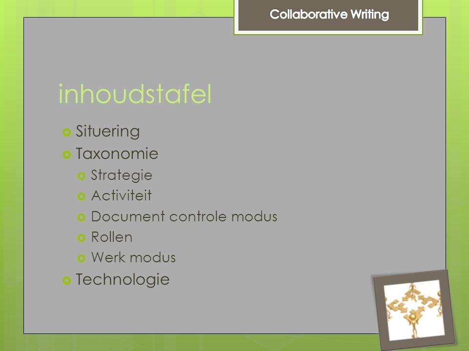 inhoudstafel  Situering  Taxonomie  Strategie  Activiteit  Document controle modus  Rollen  Werk modus  Technologie