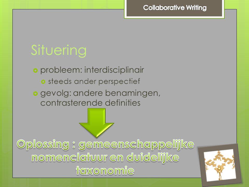 Situering  probleem: interdisciplinair  steeds ander perspectief  gevolg: andere benamingen, contrasterende definities