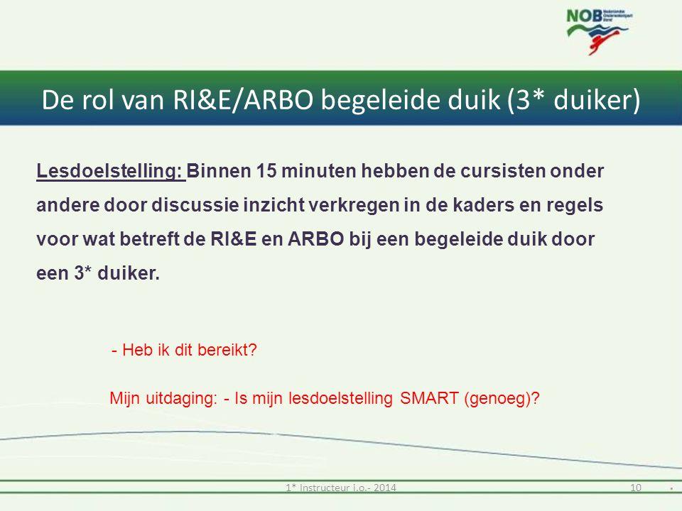 De rol van RI&E/ARBO begeleide duik (3* duiker) 101* Instructeur i.o.- 2014 Lesdoelstelling: Binnen 15 minuten hebben de cursisten onder andere door discussie inzicht verkregen in de kaders en regels voor wat betreft de RI&E en ARBO bij een begeleide duik door een 3* duiker.