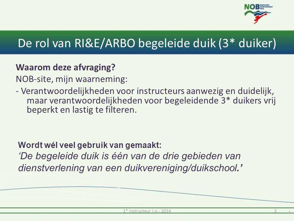 De rol van RI&E/ARBO begeleide duik (3* duiker) Waarom deze afvraging.