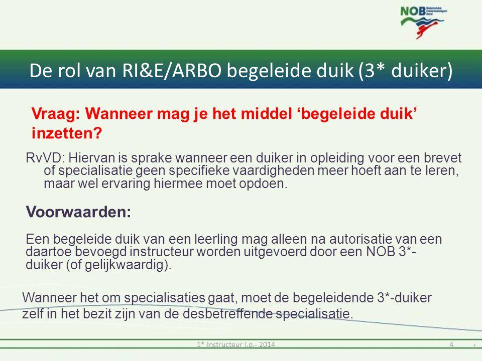 De rol van RI&E/ARBO begeleide duik (3* duiker) RvVD: Hiervan is sprake wanneer een duiker in opleiding voor een brevet of specialisatie geen specifieke vaardigheden meer hoeft aan te leren, maar wel ervaring hiermee moet opdoen.