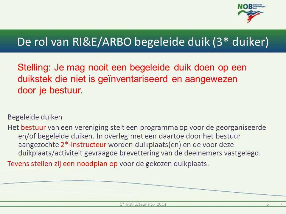 De rol van RI&E/ARBO begeleide duik (3* duiker) Begeleide duiken Het bestuur van een vereniging stelt een programma op voor de georganiseerde en/of begeleide duiken.