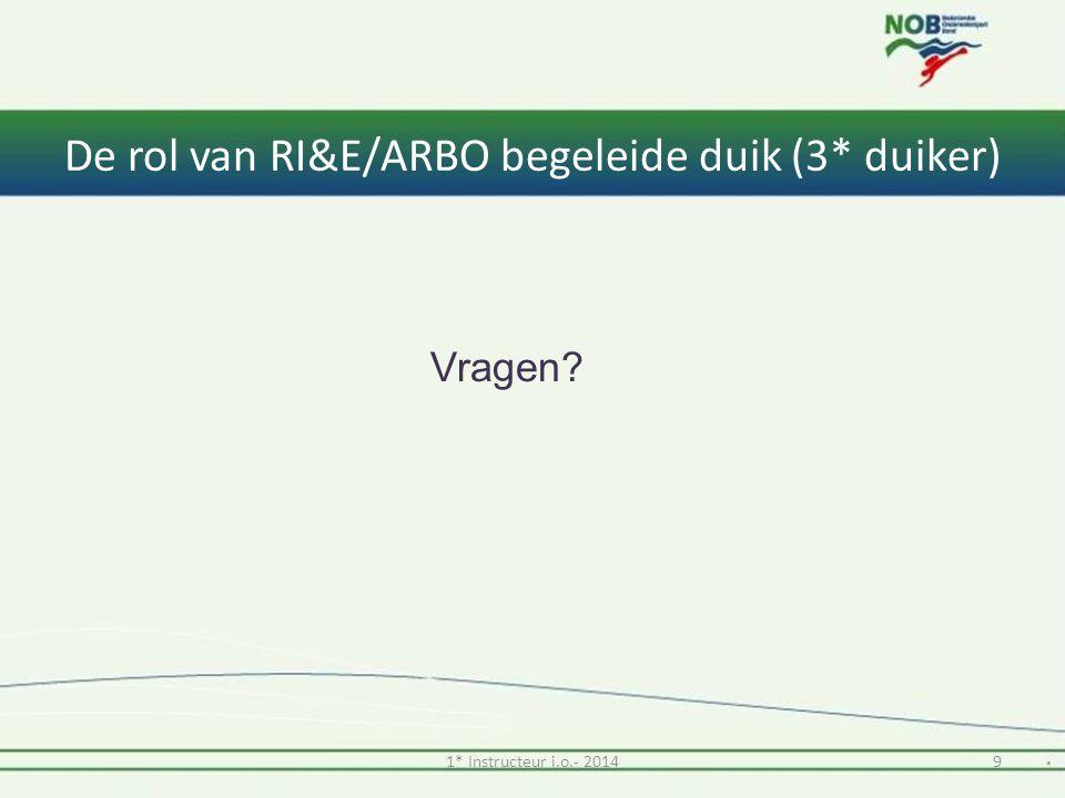 De rol van RI&E/ARBO begeleide duik (3* duiker) Vragen? 91* Instructeur i.o.- 2014