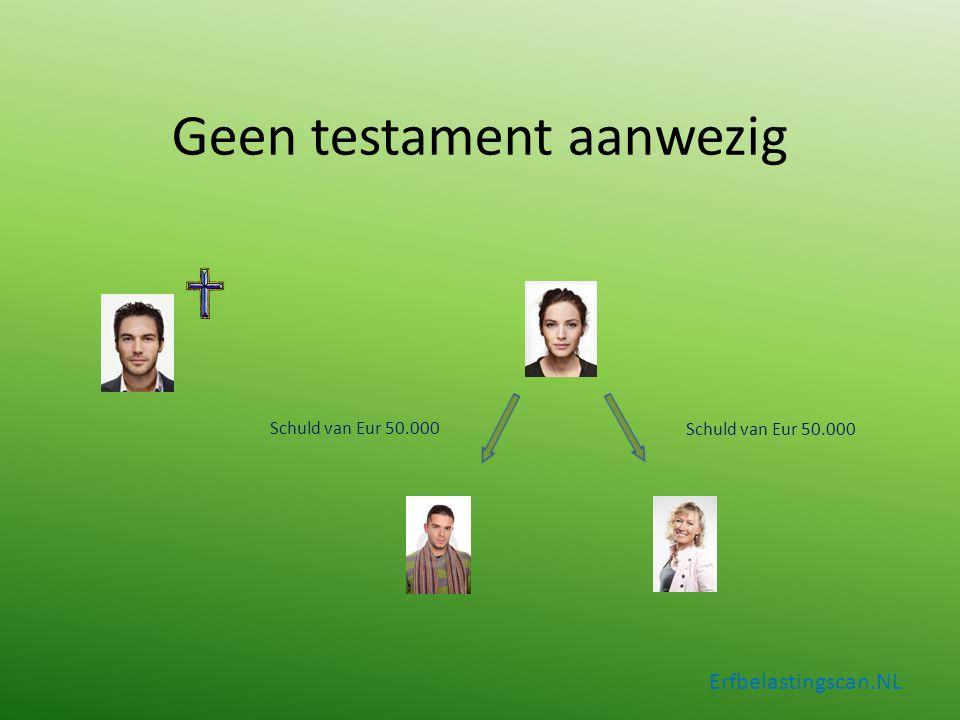 Geen testament aanwezig Erfbelastingscan.NL Schuld van Eur 50.000