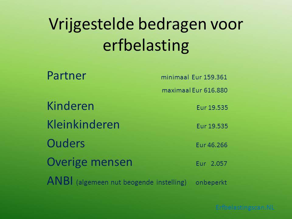 Vrijgestelde bedragen voor erfbelasting Partner minimaal Eur 159.361 maximaal Eur 616.880 Kinderen Eur 19.535 Kleinkinderen Eur 19.535 Ouders Eur 46.2