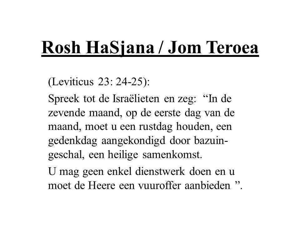 """Rosh HaSjana / Jom Teroea (Leviticus 23: 24-25): Spreek tot de Israëlieten en zeg: """"In de zevende maand, op de eerste dag van de maand, moet u een rus"""