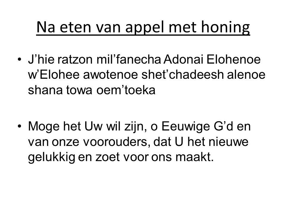 Na eten van appel met honing •J'hie ratzon mil'fanecha Adonai Elohenoe w'Elohee awotenoe shet'chadeesh alenoe shana towa oem'toeka •Moge het Uw wil zi
