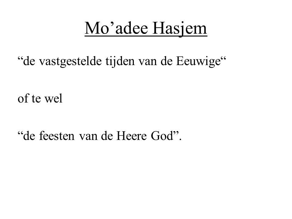 """Mo'adee Hasjem """"de vastgestelde tijden van de Eeuwige"""" of te wel """"de feesten van de Heere God""""."""