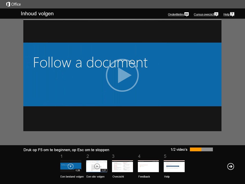 51 234 Cursus overzichtHelp U kunt eenvoudig op de hoogte blijven van documenten en andere items in uw SkyDrive Pro-bibliotheek door deze items te volgen.