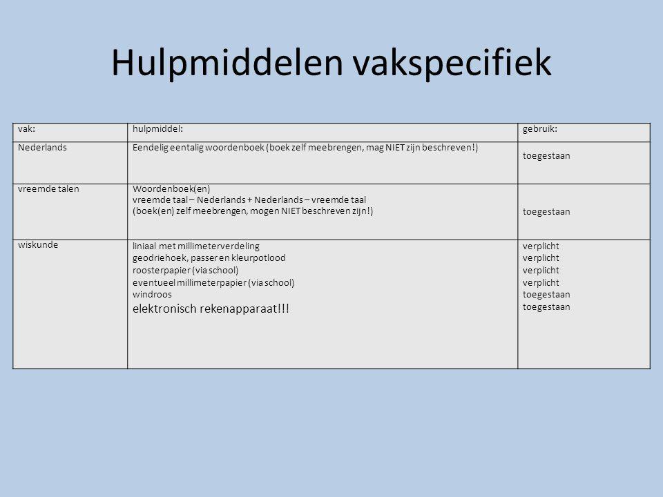 Hulpmiddelen vakspecifiek vak:hulpmiddel:gebruik: NederlandsEendelig eentalig woordenboek (boek zelf meebrengen, mag NIET zijn beschreven!) toegestaan
