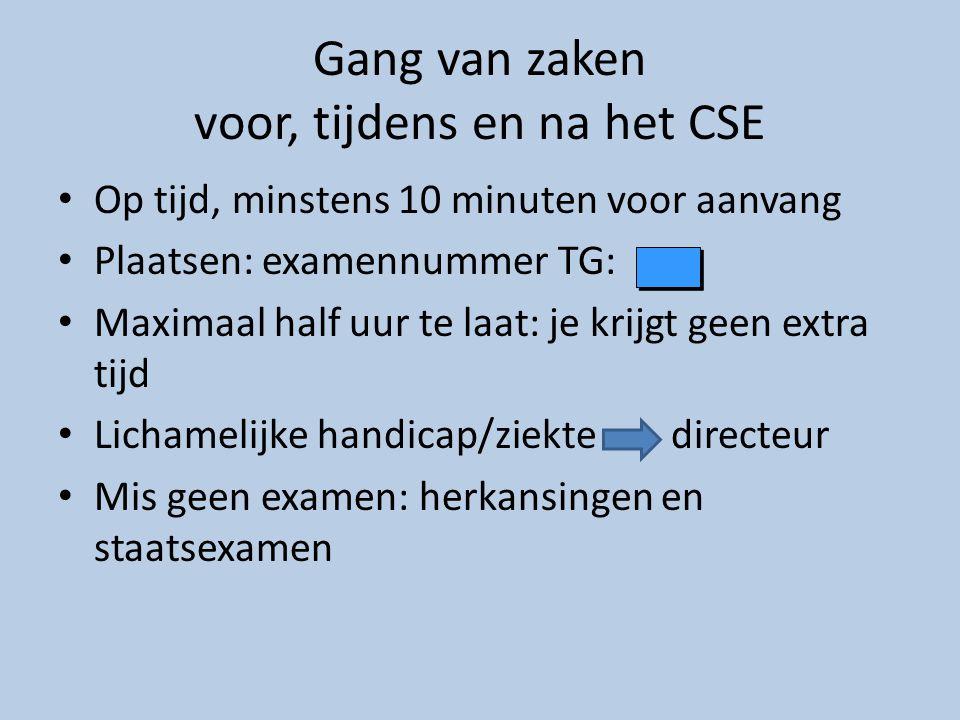 Gang van zaken voor, tijdens en na het CSE • Op tijd, minstens 10 minuten voor aanvang • Plaatsen: examennummer TG: • Maximaal half uur te laat: je kr