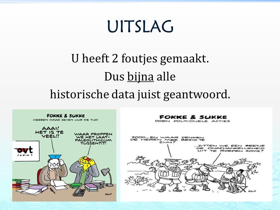 UITSLAG U heeft 2 foutjes gemaakt. Dus bijna alle historische data juist geantwoord.