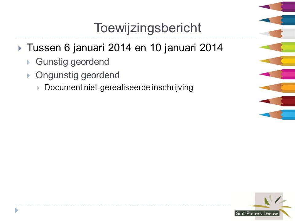 Toewijzingsbericht  Tussen 6 januari 2014 en 10 januari 2014  Gunstig geordend  Ongunstig geordend  Document niet-gerealiseerde inschrijving