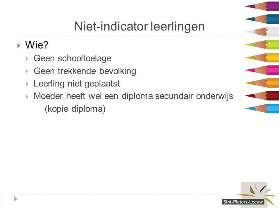 Niet-indicator leerlingen  Wie.