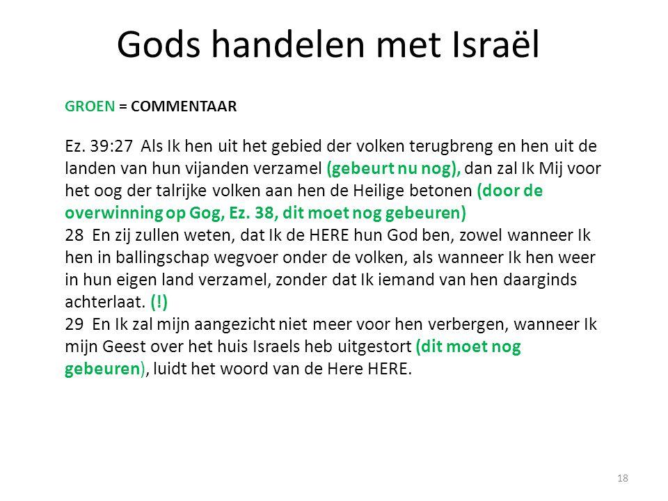 Gods handelen met Israël Ez. 39:27 Als Ik hen uit het gebied der volken terugbreng en hen uit de landen van hun vijanden verzamel (gebeurt nu nog), da