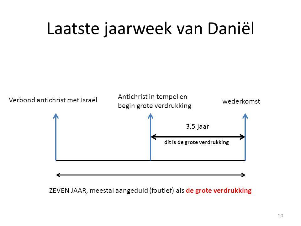 Laatste jaarweek van Daniël ZEVEN JAAR, meestal aangeduid (foutief) als de grote verdrukking Antichrist in tempel en begin grote verdrukking Verbond a
