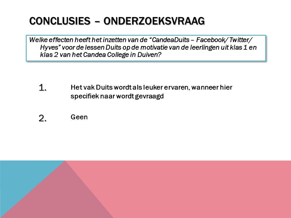 CONCLUSIES – ONDERZOEKSVRAAG Welke effecten heeft het inzetten van de CandeaDuits – Facebook/ Twitter/ Hyves voor de lessen Duits op de motivatie van de leerlingen uit klas 1 en klas 2 van het Candea College in Duiven.