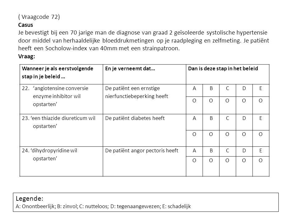 ( Vraagcode 72) Casus Je bevestigt bij een 70 jarige man de diagnose van graad 2 geïsoleerde systolische hypertensie door middel van herhaaldelijke bl