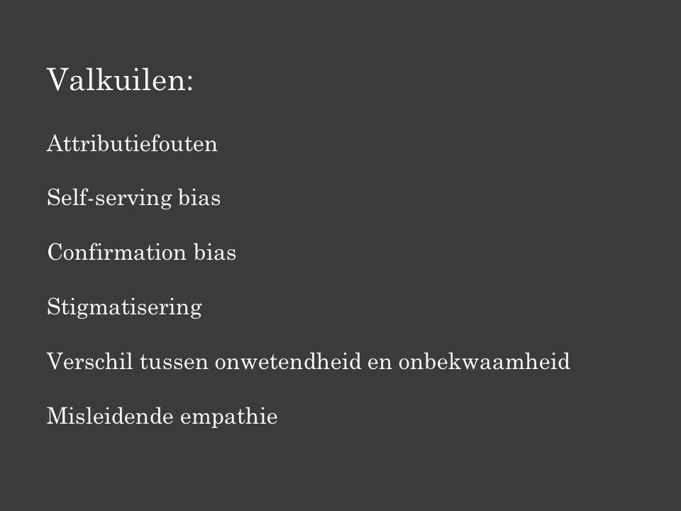 Valkuilen: Attributiefouten Self-serving bias Confirmation bias Stigmatisering Verschil tussen onwetendheid en onbekwaamheid Misleidende empathie