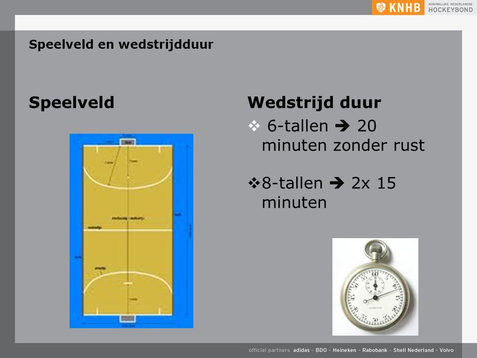 Speelveld en wedstrijdduur SpeelveldWedstrijd duur  6-tallen  20 minuten zonder rust  8-tallen  2x 15 minuten
