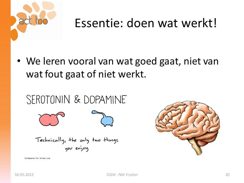 Essentie: doen wat werkt! 16-05-2013OGW - NW Fryslan20 • We leren vooral van wat goed gaat, niet van wat fout gaat of niet werkt.