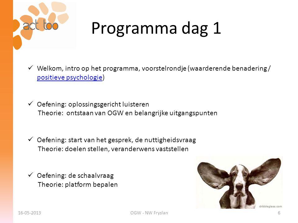 Programma dag 1 16-05-2013OGW - NW Fryslan6  Welkom, intro op het programma, voorstelrondje (waarderende benadering / positieve psychologie) positiev