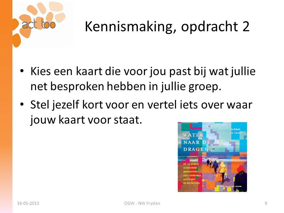 Kennismaking, opdracht 2 16-05-2013OGW - NW Fryslan9 • Kies een kaart die voor jou past bij wat jullie net besproken hebben in jullie groep. • Stel je