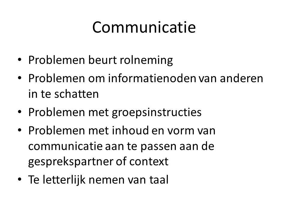 Communicatie • Problemen beurt rolneming • Problemen om informatienoden van anderen in te schatten • Problemen met groepsinstructies • Problemen met inhoud en vorm van communicatie aan te passen aan de gesprekspartner of context • Te letterlijk nemen van taal