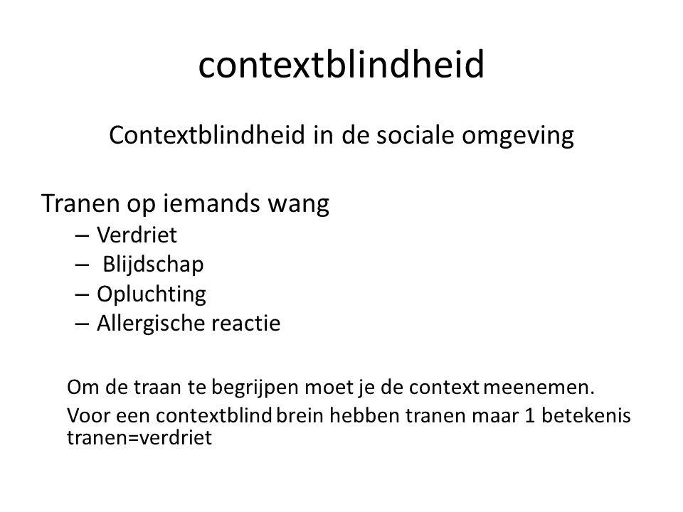 contextblindheid Contextblindheid in de sociale omgeving Tranen op iemands wang – Verdriet – Blijdschap – Opluchting – Allergische reactie Om de traan te begrijpen moet je de context meenemen.