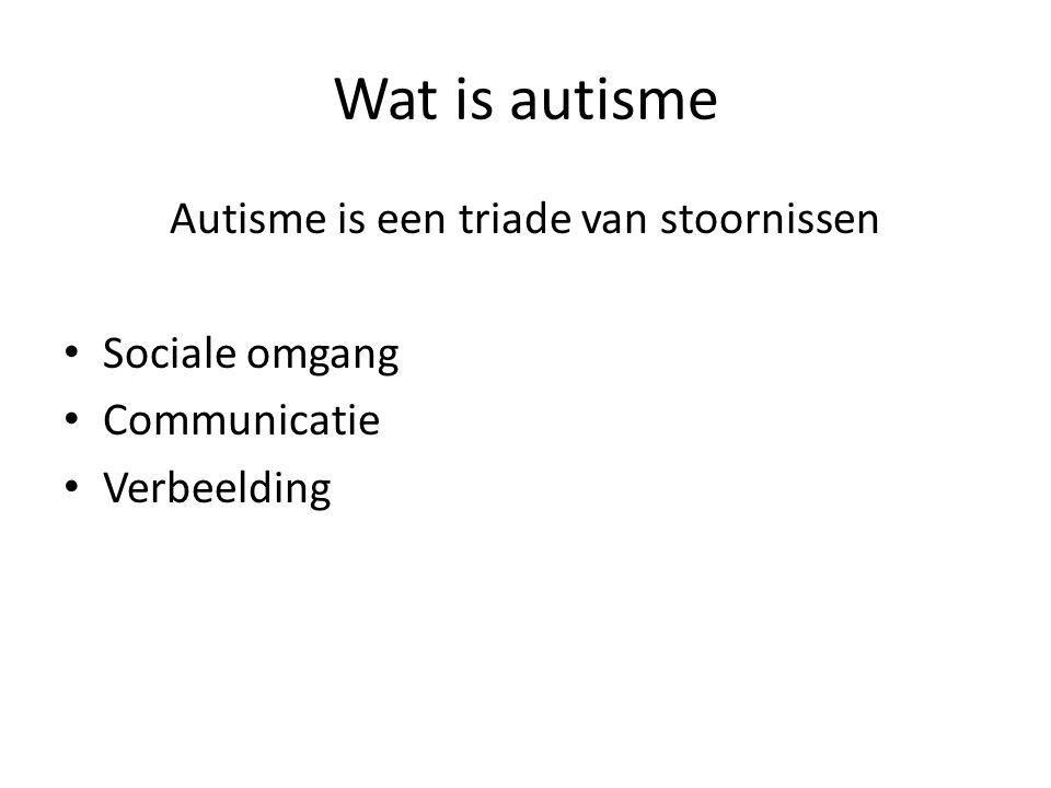 Wat is autisme Autisme is een triade van stoornissen • Sociale omgang • Communicatie • Verbeelding