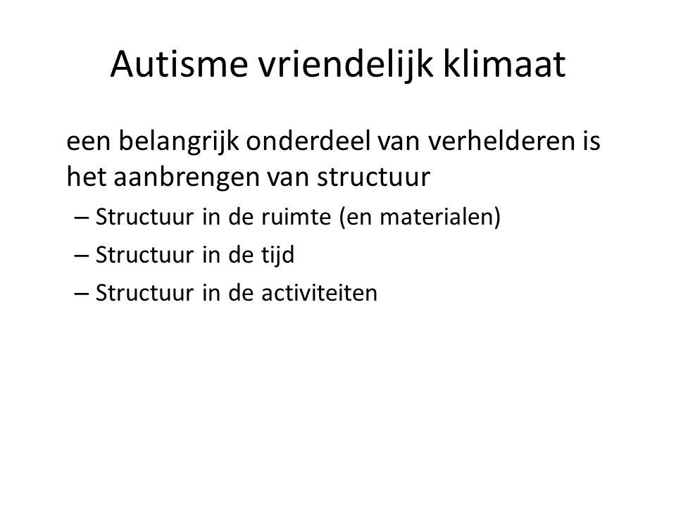 Autisme vriendelijk klimaat een belangrijk onderdeel van verhelderen is het aanbrengen van structuur – Structuur in de ruimte (en materialen) – Structuur in de tijd – Structuur in de activiteiten
