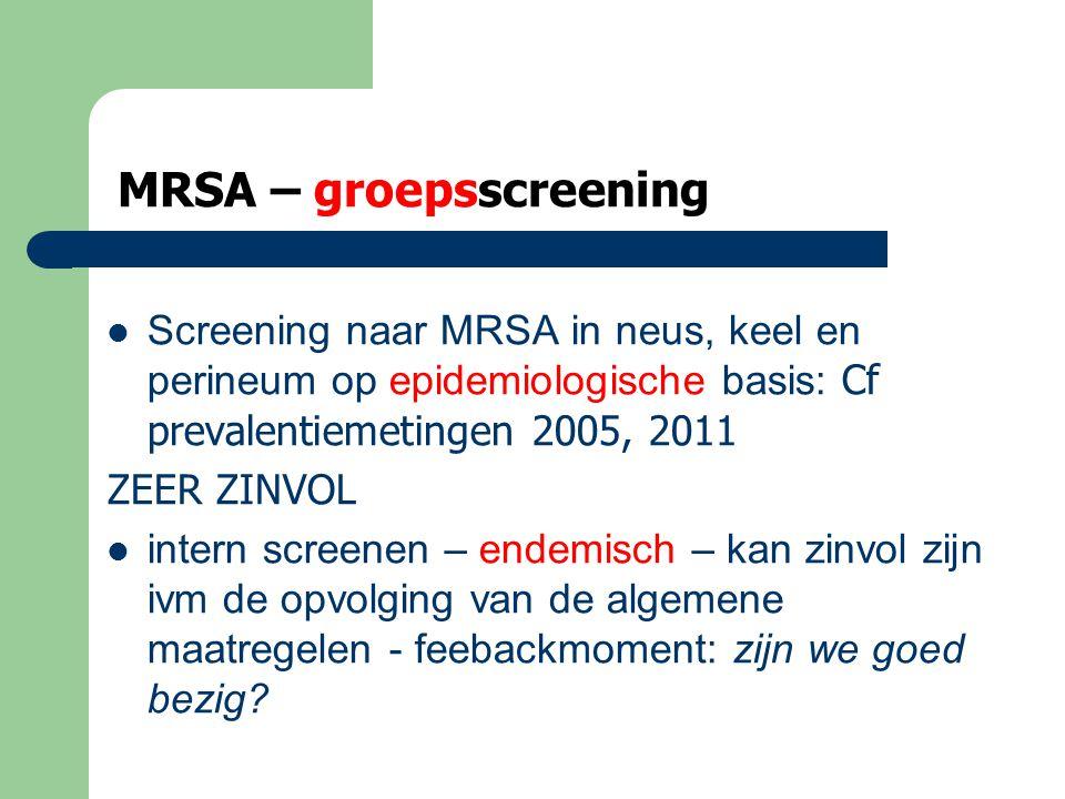 MRSA – groepsscreening  Cave screenen om te screenen….