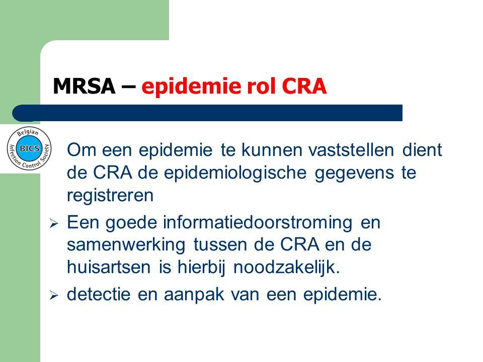 MRSA – opnieuw groepsscreening  3 positieven = epidemie: dan omgeving screenen  In praktijk betekent dat heel de afdeling?