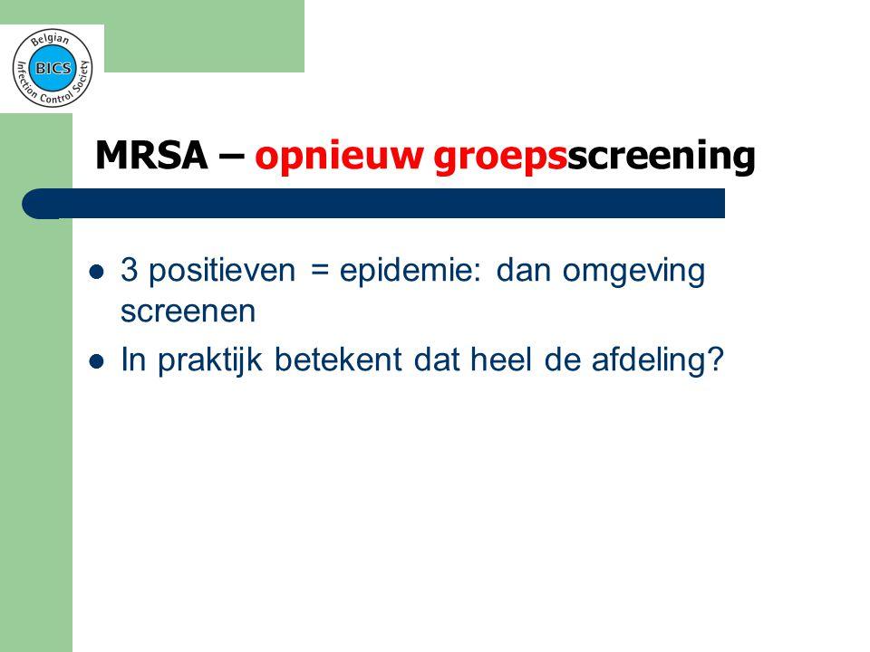 MRSA – opnieuw groepsscreening  Screening van de bewoners uit de onmiddellijke omgeving van een positieve casus + uitbreiding van de controlemaatregelen in de omgeving van de positieve casus  Registratie van alle positieve gevallen  Opstellen van de epidemiologische curve